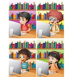 Boys and girl working on computer vector image vector image