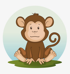 cute adorable monkey animal cartoon vector image