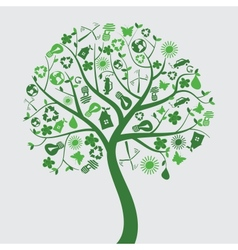 green tree with ecological icons vector image