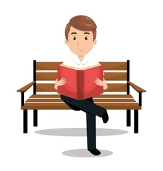 man reading textbook icon vector image