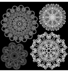 Set of Abstract circle lace patterns vector image