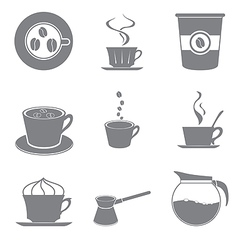 Set of beautiful gray icon coffee theme vector image