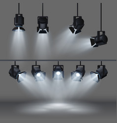 spotlights with bright white light shining stage vector image vector image
