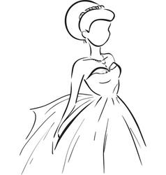 Symbolic bride in dress vector image