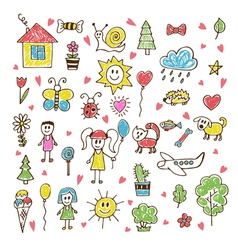 Doodle children drawing Hand drawn set of drawings vector image