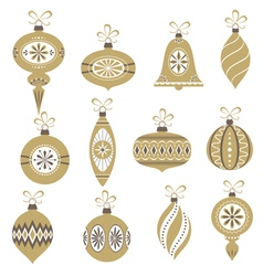 Retro Christmas ornaments vector image vector image