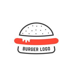 simple linear burger logo vector image