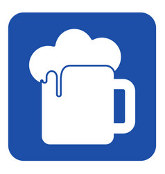 blue white information sign - beer with foam icon vector image
