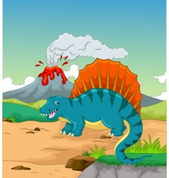 cute dinosaur cartoon with volcano background vector image vector image