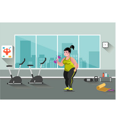 fat woman in the gym vector image