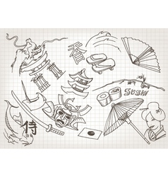 funny hand drawn japanese doodles vector image vector image