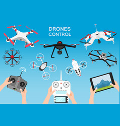 set of modern air drones and remote control vector image