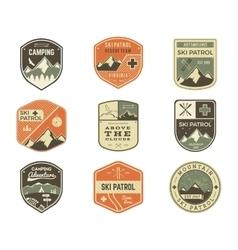 Set of retro style ski club patrol labels vector