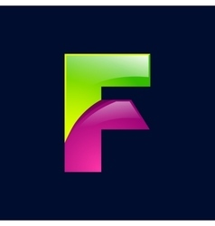 F letter green and pink logo design template vector image vector image