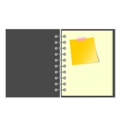 Open grey cover notebook with yellow sticker vector image