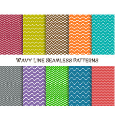 wavy line seamless patterns vector image