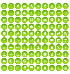 100 bicycle icons set green circle vector