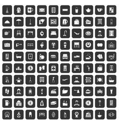 100 inn icons set black vector