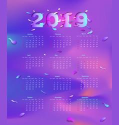 2019 calendar poster calendar of modern design vector image
