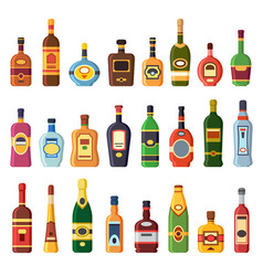 Alcohol bottles alcoholic liquor drink bottle vector