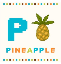 Alphabet for children letter p and a pineapple vector