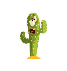 angry cactus character succulent plant with funny vector image