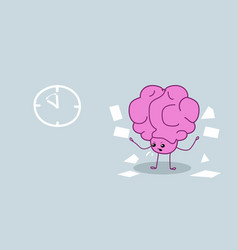 Angry human brain organ throwing pader documents vector