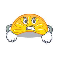 Angry orange jelly candy mascot cartoon vector