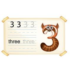 Animal cartoon number three worksheet vector