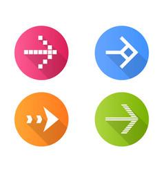 Arrow types flat design long shadow glyph icons vector