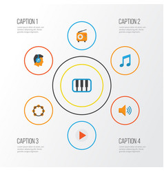 audio flat icons set collection of broadcasting vector image
