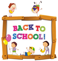 Back to school template with children vector