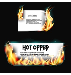 Banner on fire vector