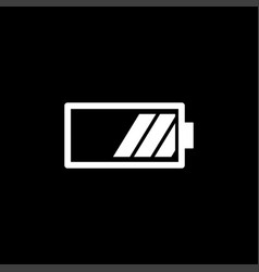 battery icon on black background black flat style vector image