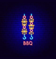 bbq neon label vector image