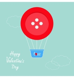 Big red button hot air balloon Dash line clouds vector