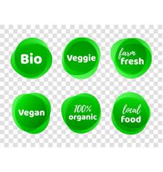 bio veggie farm vegan 100 organic labels vector image