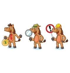 Brown Horse Mascot with money vector image vector image