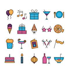 Bundle party set icons vector