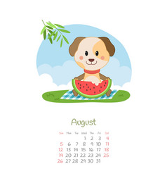 Calendar 2018 months august with dog vector