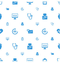 Cardiology icons pattern seamless white background vector