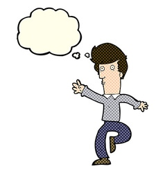 Cartoon rushing man with thought bubble vector
