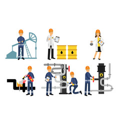 Characters of workers in the oil industry at vector