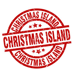 Christmas island red round grunge stamp vector