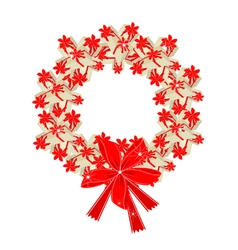 Christmas Wreath of Gift Boxes with Red Ribbon vector image