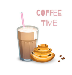 Coffee drink and bun vector