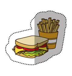 Color sandwich with fries french icon vector