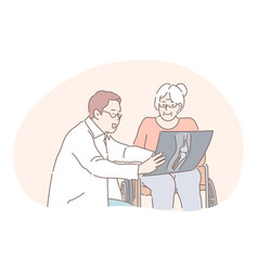 communication between doctor and patient medicare vector image