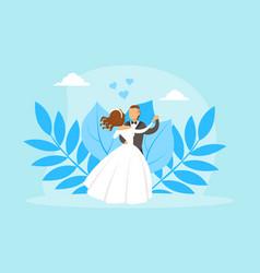 couple newlyweds dancing bride and groom vector image