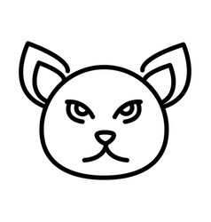 cute cat face feline character animal line icon vector image